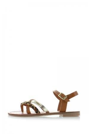 Hnedé kožené sandále 5-28104