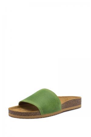 Dámske hnedo-zelené kožené šľapky 008052
