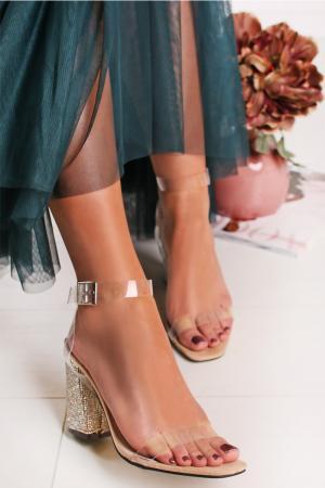 Béžovo-transparentné sandále Jadyn