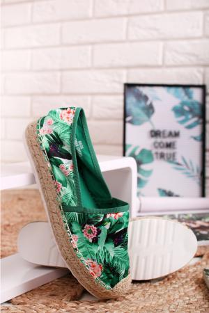 Zelené kvetované espadrilly Mirabelle