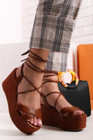 Škoricové platformové sandále Gerda